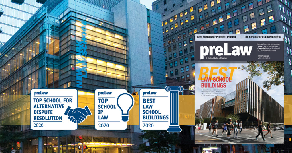 preLaw magazine top law school for ADR, IP Law, and Best Buildings 2020